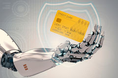 Robot hand holding credit card. 3d rendering robot hand holding credit card Stock Image