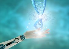 Engineering and genetic editing through the Crispr technique. DNA chain breaking down. 3D rendering. Robot hand holding dna chain. crispr technique for editing vector illustration