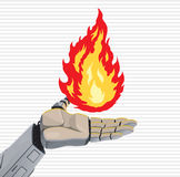 Robot Fire Hand. Robot hand holding fire, mastering heat and energy Royalty Free Stock Photography