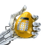 Robot hand  holding a golden Easter egg - smartphone. 3d illustration Stock Photos