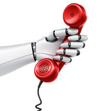 Robot hand holding telephone Stock Photos