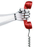 Robot hand holding telephone Royalty Free Stock Photography