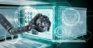 Robot hand interacting with technology interface panels holding planet earth. Digital composite of Robot hand interacting with technology interface panels Stock Images