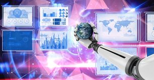 Robot hand interacting with technology interface panels holding world globe. Digital composite of Robot hand interacting with technology interface panels holding Royalty Free Stock Image