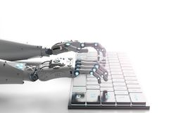 Robot hand with keyboard. 3d rendering robot hand working with computer keyboard Royalty Free Stock Photography