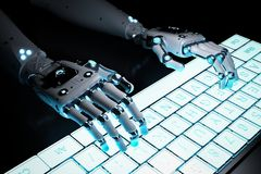 Robot hand with keyboard. 3d rendering robot hand working with computer keyboard Stock Images