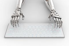 Robot hand with keyboard. 3d rendering robot hand working with computer keyboard Royalty Free Stock Image
