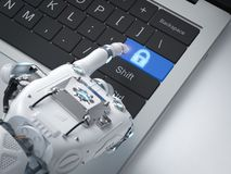 Robot hand with lock button. 3d rendering robot hand working with keypad lock button Royalty Free Stock Images