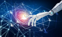 Human hand point in the center of social network icons. 3d rendering. Robot hand point in the center of social network icons. Over dark blue background. 3d Royalty Free Stock Photography