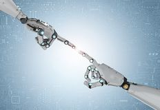 Robot hand pointing. Connection concept with 3d rendering robotic hand pointing Stock Photos