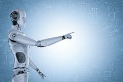 Robot hand pointing. 3d rendering humanoid robot hand pointing with circuit background Stock Images