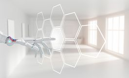 Robot hand push the hexagon button in hexagons. 3d rendering. Robot hand push the hexagon button in hexagons over white office background. 3d rendering Stock Images
