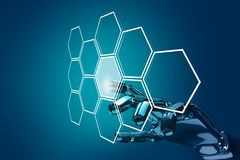 Robot hand push the hexagon button in hexagons. 3d rendering. Robot hand push the hexagon button in hexagons over blue background. 3d rendering Royalty Free Stock Image