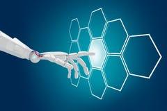 Robot hand push the hexagon button in hexagons. 3d rendering. Robot hand push the hexagon button in hexagons over blue background. 3d rendering Royalty Free Stock Photo