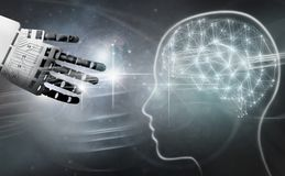 Robot brain connection royalty free stock images