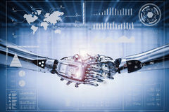 Robot hand shake with virtual graphic Stock Photo