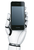 Robot hand with Smartphone Royalty Free Stock Images