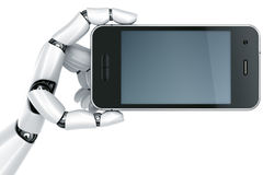 Robot hand with Smartphone Stock Photos