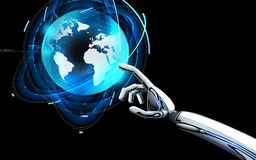 Robot hand touching virtual earth hologram. Science, future technology and progress concept - robot hand touching virtual earth hologram over black background Royalty Free Stock Photography