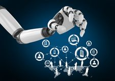 Robot hand with white network against dark blue background Stock Photo