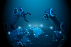 Robot hand with world connection. Globalization concept with 3d rendering robot hand with world connection