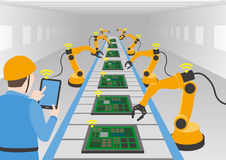 Robot hands and conveyor belt, controlled by engineer with Tablet PC, Factory automation, Industry 4.0, Internet of Things Royalty Free Stock Images