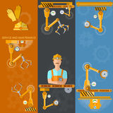 Robot hands and conveyor vertical banners industrial robot Royalty Free Stock Image