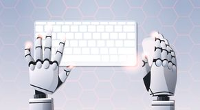 Robot hands holding mouse using computer keyboard typing top angle view artificial intelligence digital futuristic. Technology concept flat horizontal vector stock illustration