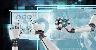 Robot hands interacting with technology interface panels holding world globe Stock Photography