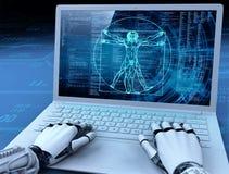 Robot hands, laptop with human image, evolution, blue background