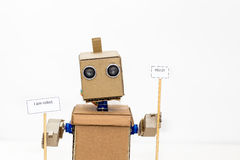 Robot with hands on a white background Royalty Free Stock Photos