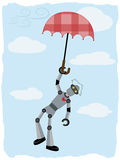 Robot hanging from floating umbrella Royalty Free Stock Photo