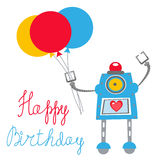 Robot Happy birthday card Stock Photos