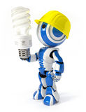 Robot with Hard Hat and Energy Saver Bulb Royalty Free Stock Photography