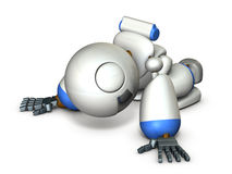 Robot has bowed down. Robot has bowed down because disappointed. computer generated image Stock Photos