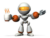 Robot has a greeting while having a cup of coffee in one hand. Royalty Free Stock Photo