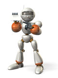 Robot has self introduction, and pointing at a business card. Robot has self introduction. isolated,, computer generated image Stock Images