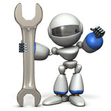 Robot is having a big tool. It is a symbol of technical capabilities. Royalty Free Stock Photography