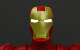 Robot head. Realistic 3d render of red and gold robot with glowing eyes