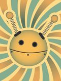 Robot Head in Bright Swirl yellow, red, blue Royalty Free Stock Photos