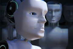 Robot head in front of many others. 3D rendered illustration royalty free illustration