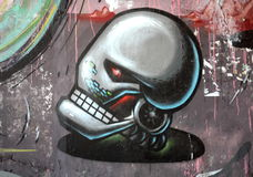Robot head graffiti. On wall in Kiev, Ukraine Royalty Free Stock Photography