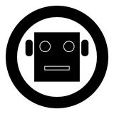 Robot head icon black color in circle. Vector illustration Stock Photography