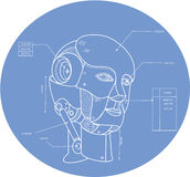 Robot Head Technical Drawing Royalty Free Stock Images