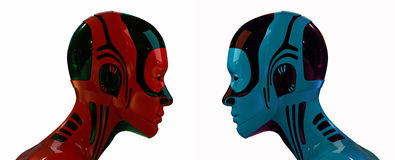 Robot heads. 3d red and blue bright Robot heads Royalty Free Stock Photo