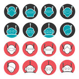 Robot heads collection Royalty Free Stock Images