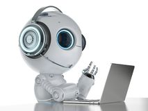Robot with headset and notebook. 3d rendering mini robot working with headset and notebook stock illustration