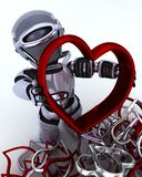 Robot with heart charm. 3D render of a Robot with heart charm Stock Image