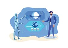 Robot Helper, Scientist Flat Vector Illustration. Artificial Intelligence in Space Exploration. Cartoon Cyborg Compares Earth, Saturn Atmosphere. Researcher stock illustration