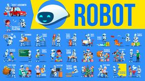 Robot Helper Set Vector. Future Lifestyle Situations. Working, Communicating Together. Cyborg, AI Futuristic Humanoid. Character. Artificial Intelligence. Web royalty free illustration